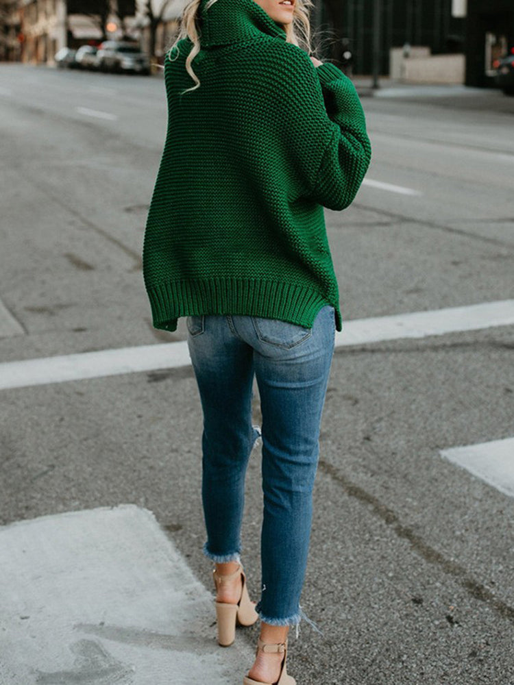 Mustard Solid Casual Knitted Turtle Neck Sweater