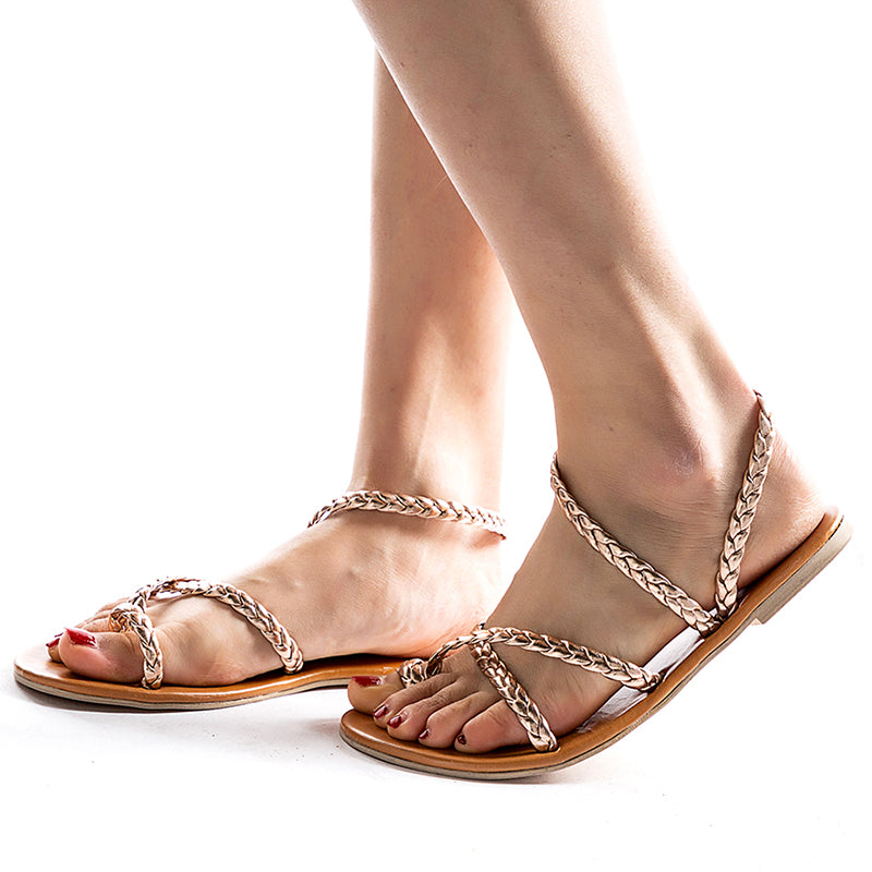 Flat Heel Braided Strap Sandals