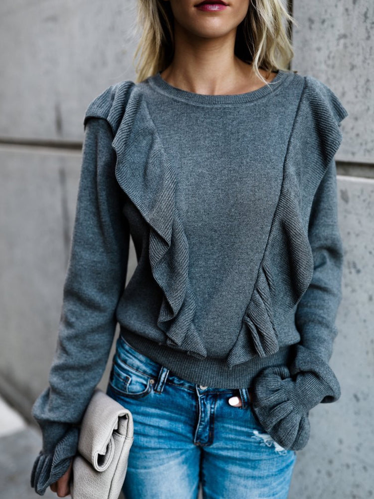 Black Polyester Casual Sweater