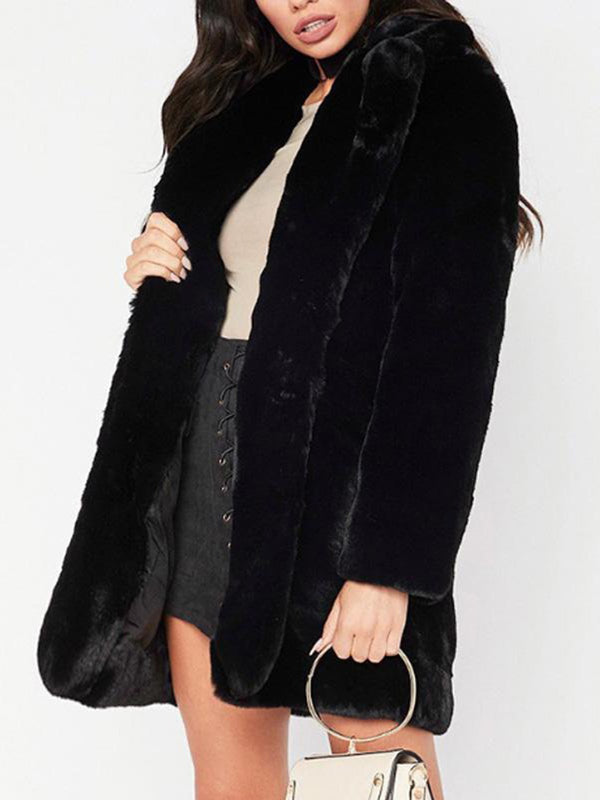 Medium Long Soft Fluffy Faux Fur Coat
