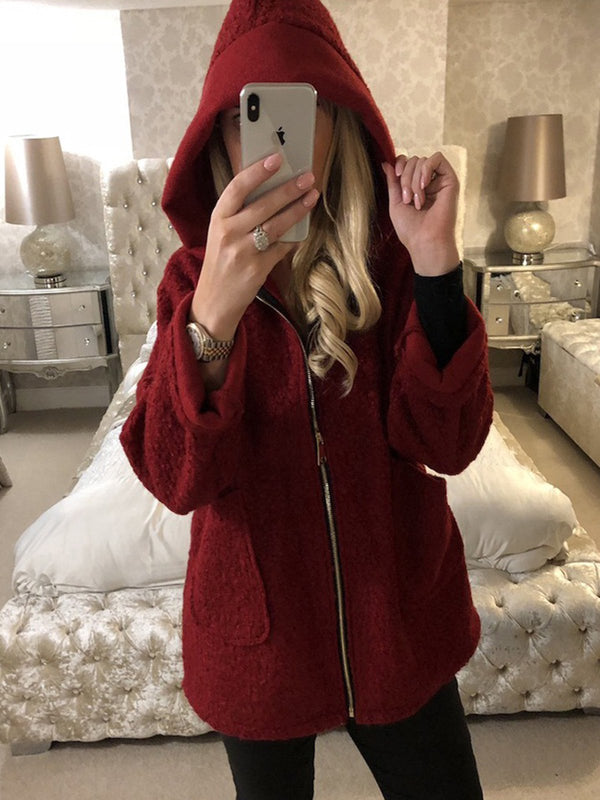 Plus Size Solid Hoodie Casual Long Sleeve Pockets Coat