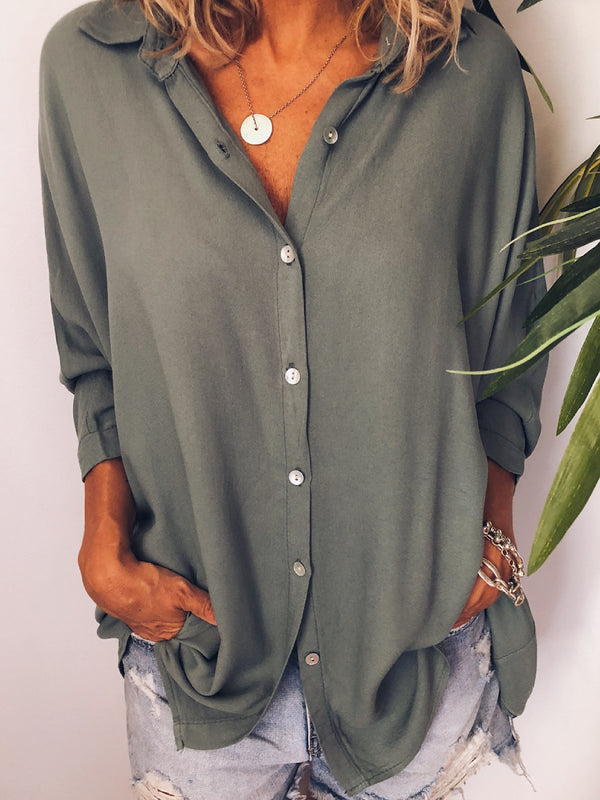 Buttoned Long Sleeve V Neck Solid Shirts & Tops