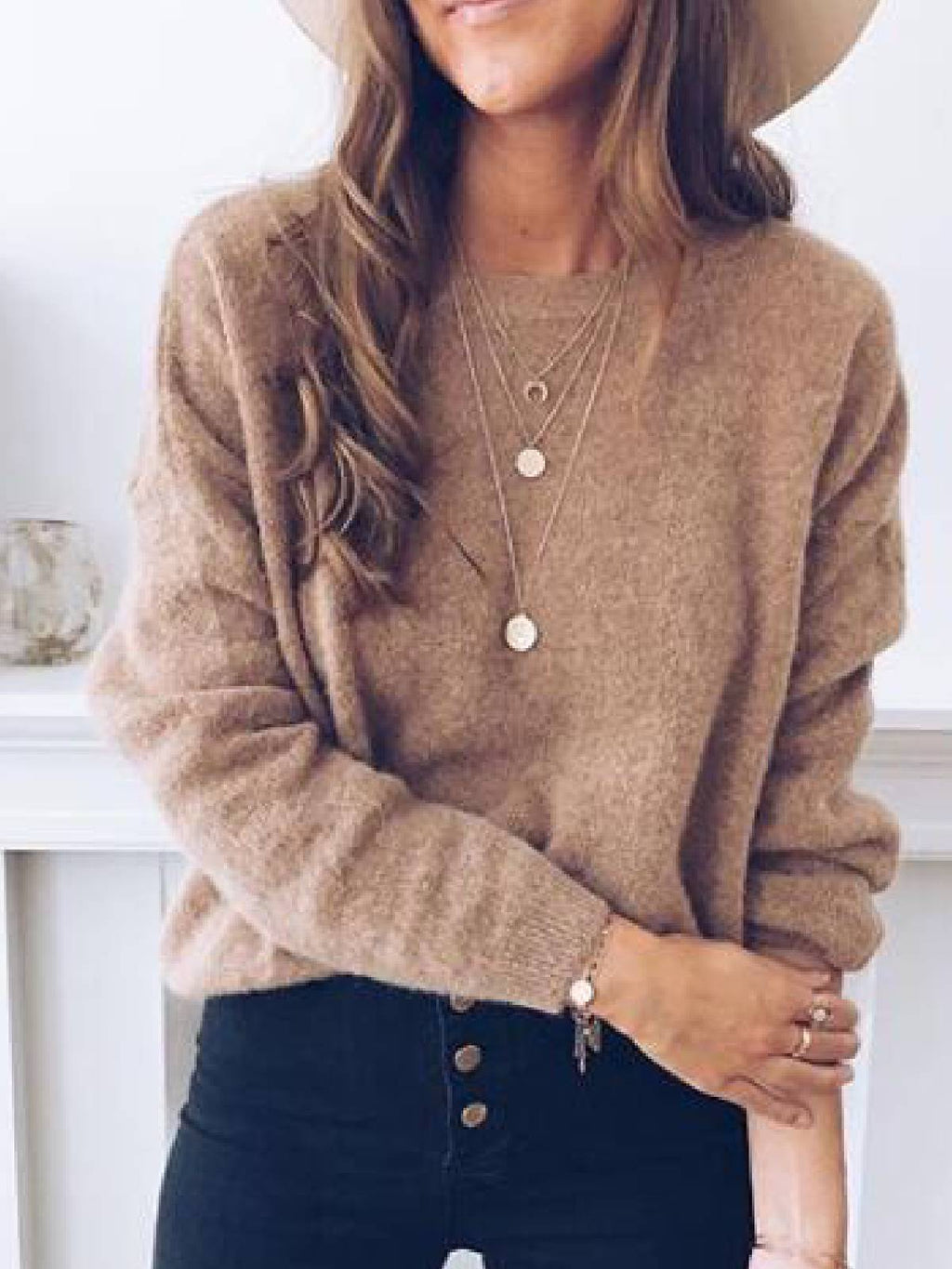 Coffee Solid Long Sleeve Sweater