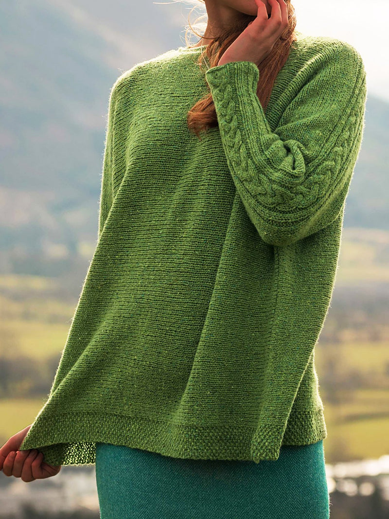 Crew Neck Knitted Sweaters Plus Size Pullovers Jumpers