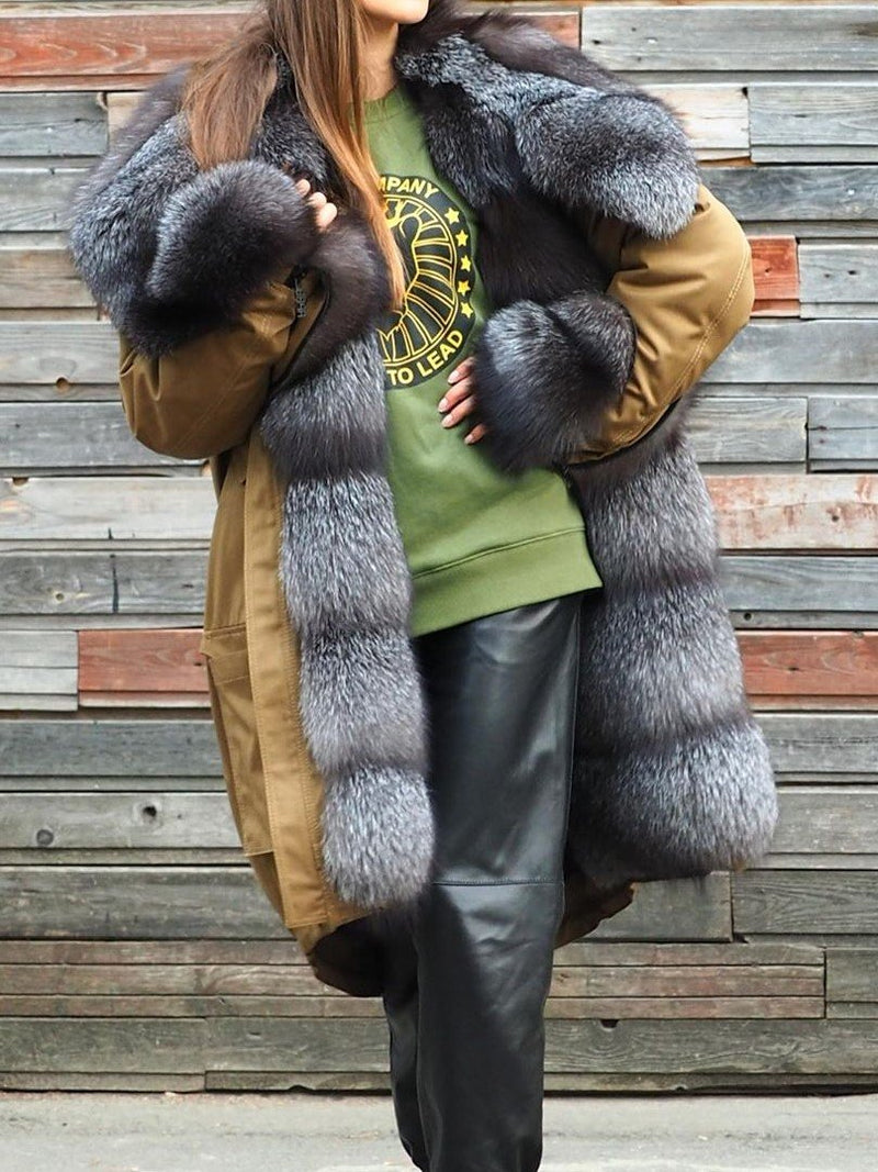 Winter Warm Fluffy Coat Faux Fur Overcoat Long Sleeve Parka