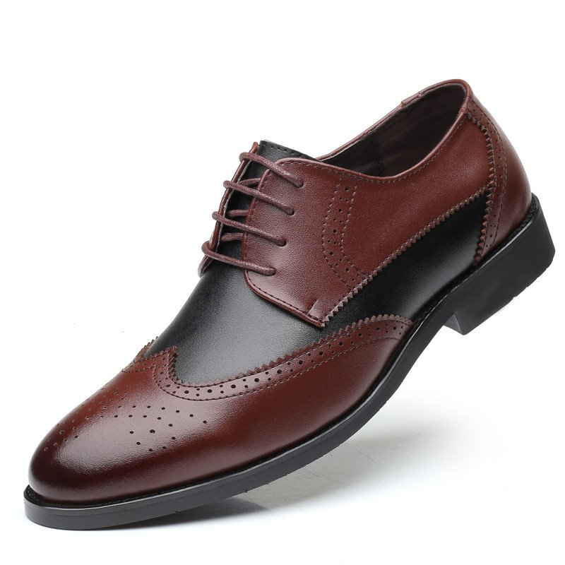 Men Cap Toe Brogue Color Blocking Carved Oxfords Stylish Dress Shoes