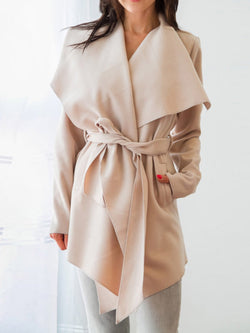 Fashion Lapel  Plain Casual Coat