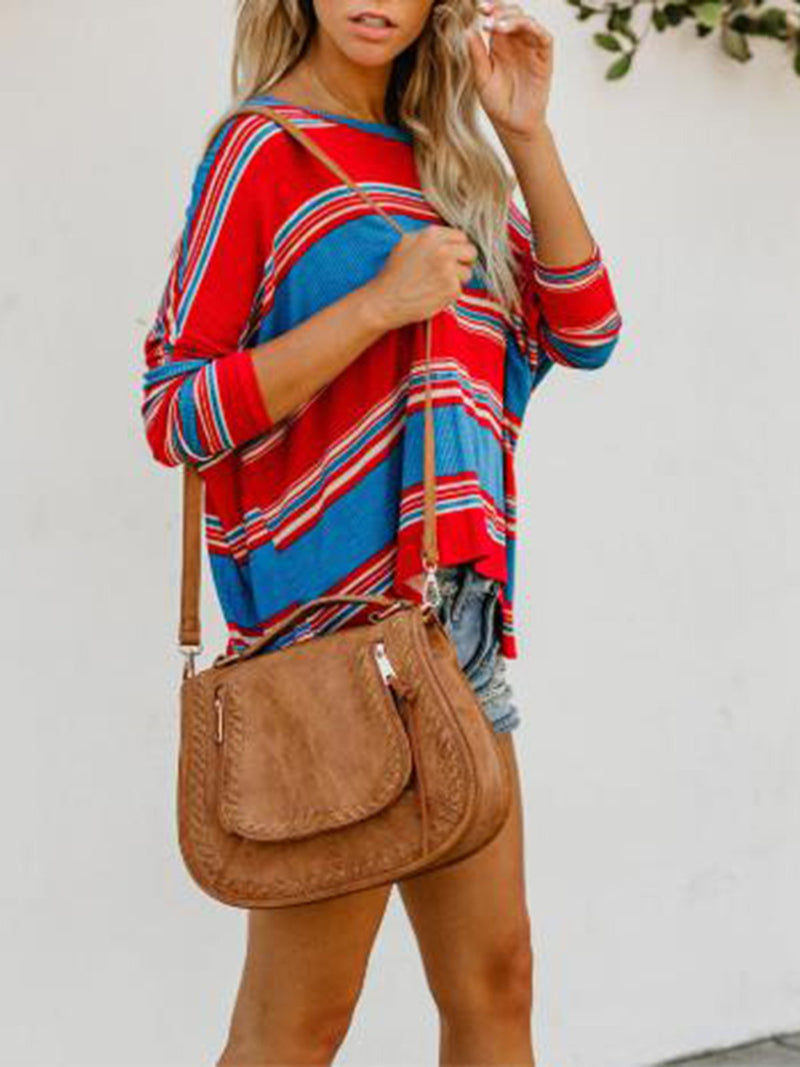 Round Neck Stripe Printed Sweater