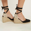 Women Flocking Wedge Sandals Casual Lace Up Shoes