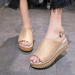 Daily Suede Wedge Heel Buckle Sandal
