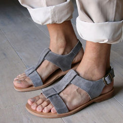 Blue Flat Heel Flocking Hollow-out Sandal