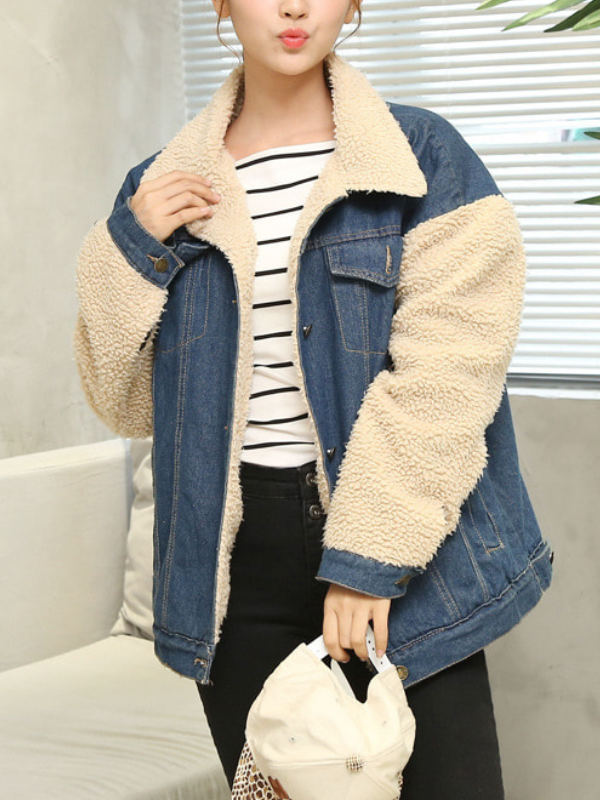Jeans Paneled Winter Vintage Long Sleeve Cotton Coat
