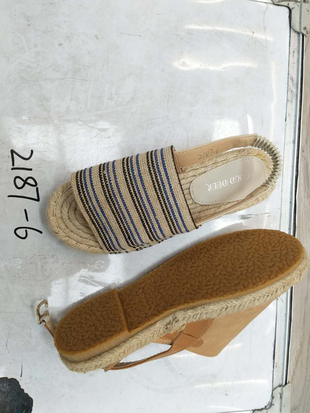 Stripes Espadrilles Beach Sandals Elastic Band Cloth Sandals