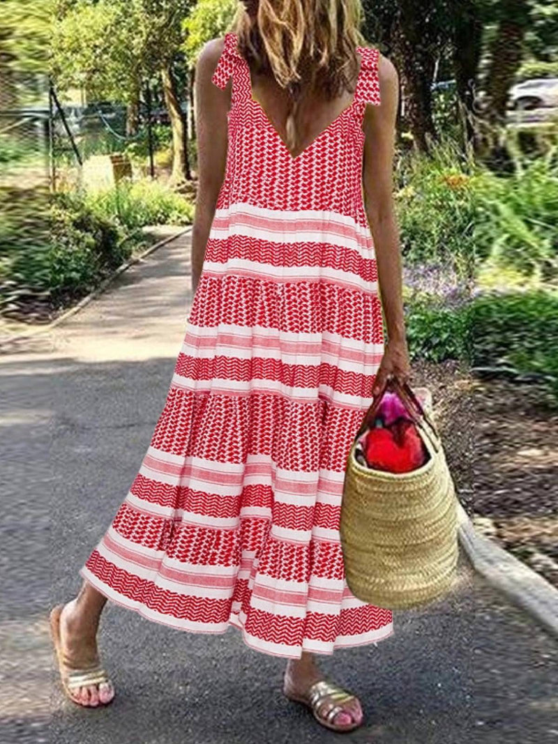 Cotton-Blend Casual Sleeveless V Neck Dresses