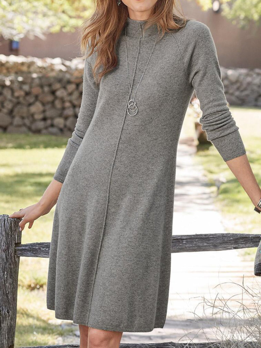 Turtleneck Casual Plain Wool Blend Dresses