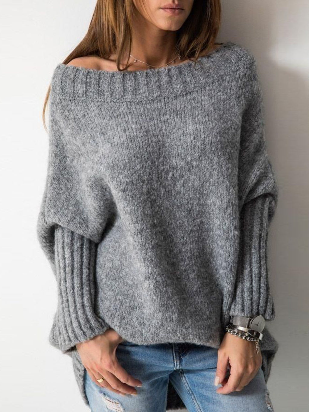 Casual Shift Plain Knitted Sweater