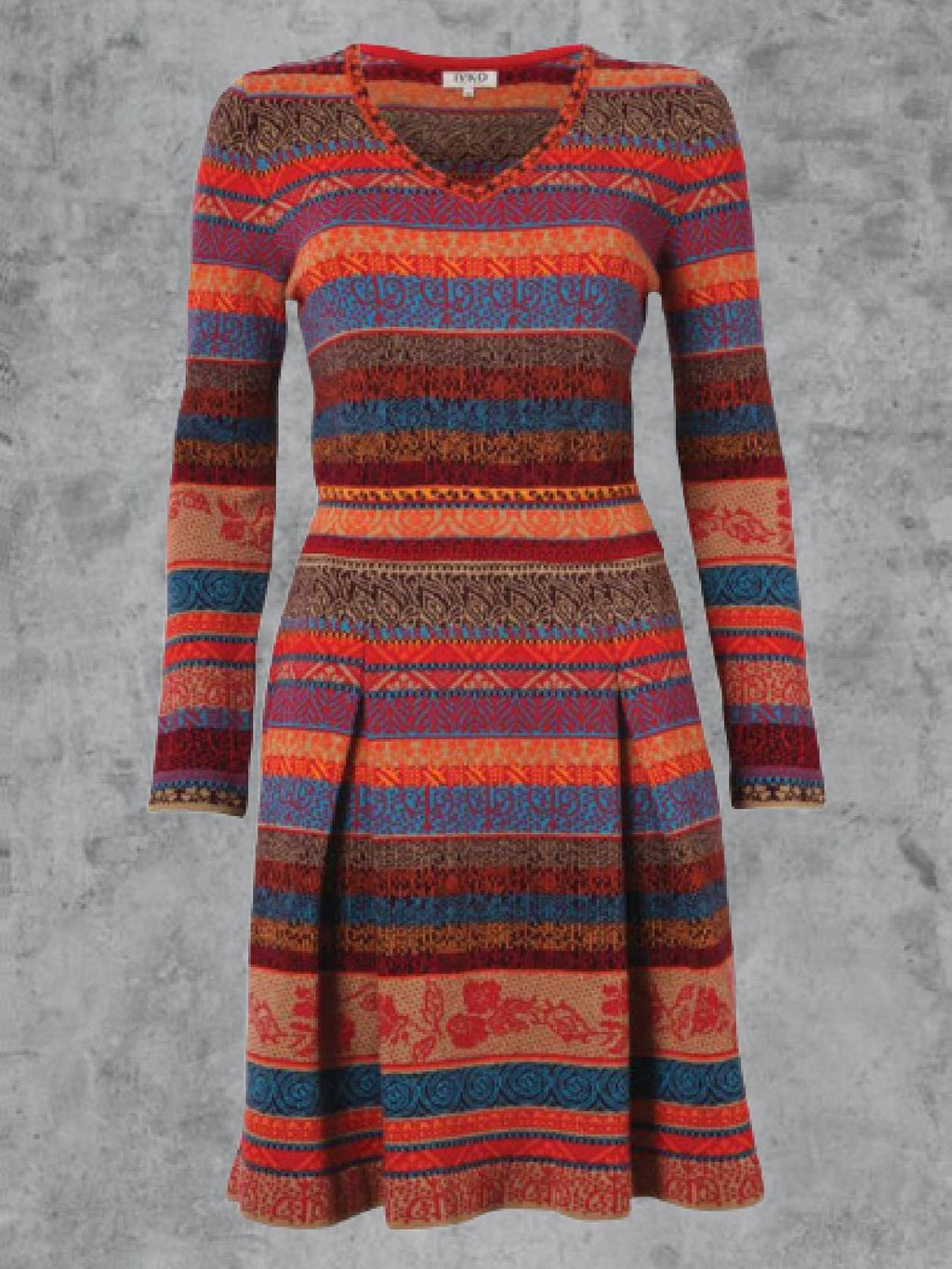 Multicolor Long Sleeve Round Neck Dresses