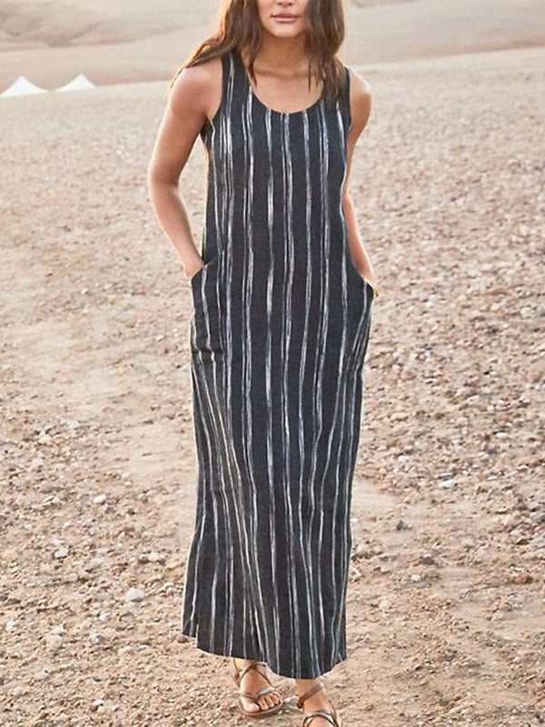 Casual Striped Sleeveless Pockets Maxi Dresses