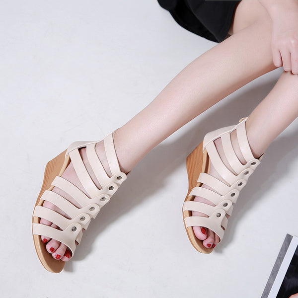 Women Comfortable Peep Toe Wedges Zipper Sandals