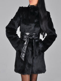Black Sexy Faux Fur Long Warm Coat