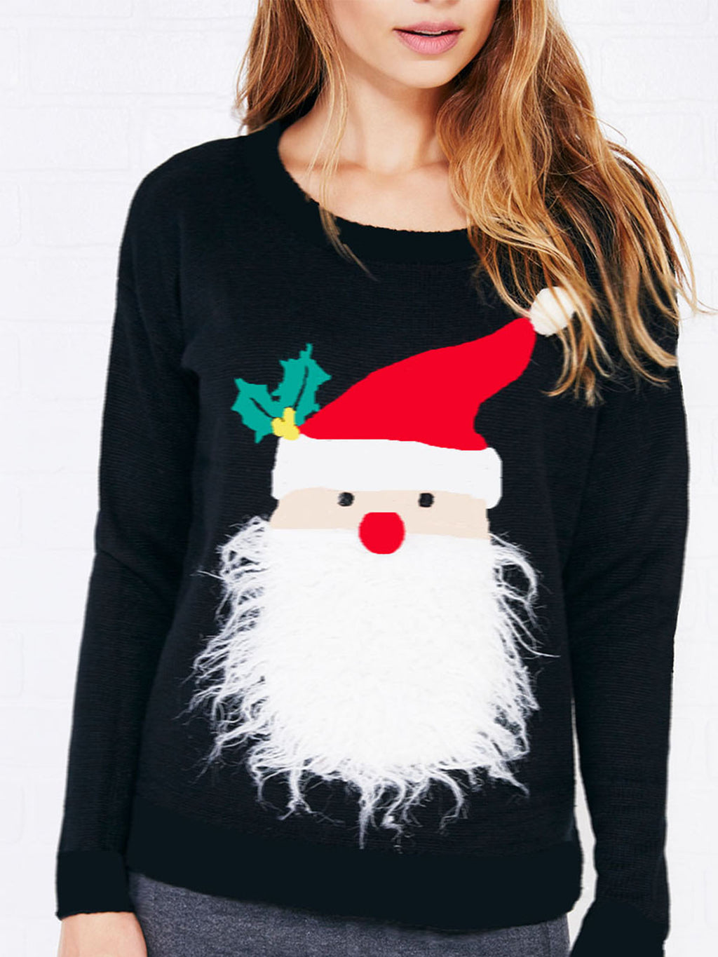 Christmas  Santa Claus Cotton Long Sleeve Appliqued Hoodies