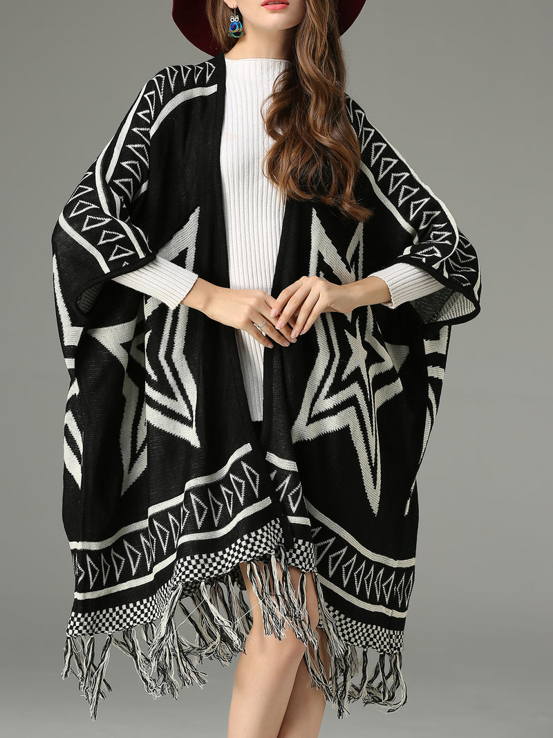 Black Abstract Casual Fringed Cardigan
