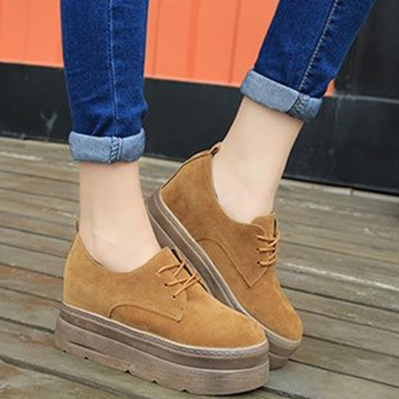 Women Nubuck Creepers Loafers Casual Comfort Slip On Shoes