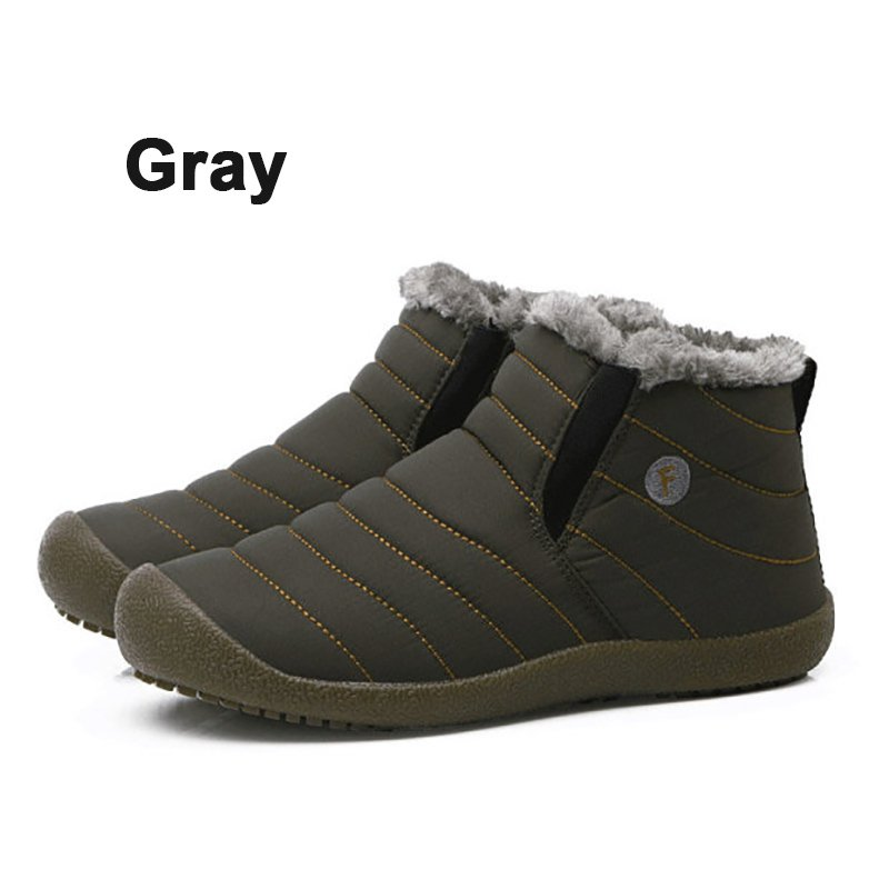 Large Size Waterproof Fur Lined Slip On Boots