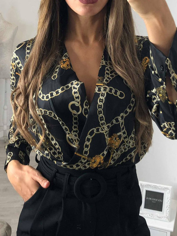 3 Colors Graphic V Neck Sexy Jumpsuits Shirt Rompers