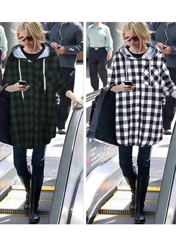 Casual Long Sleeve Hooded Plaid Plus Size Coat