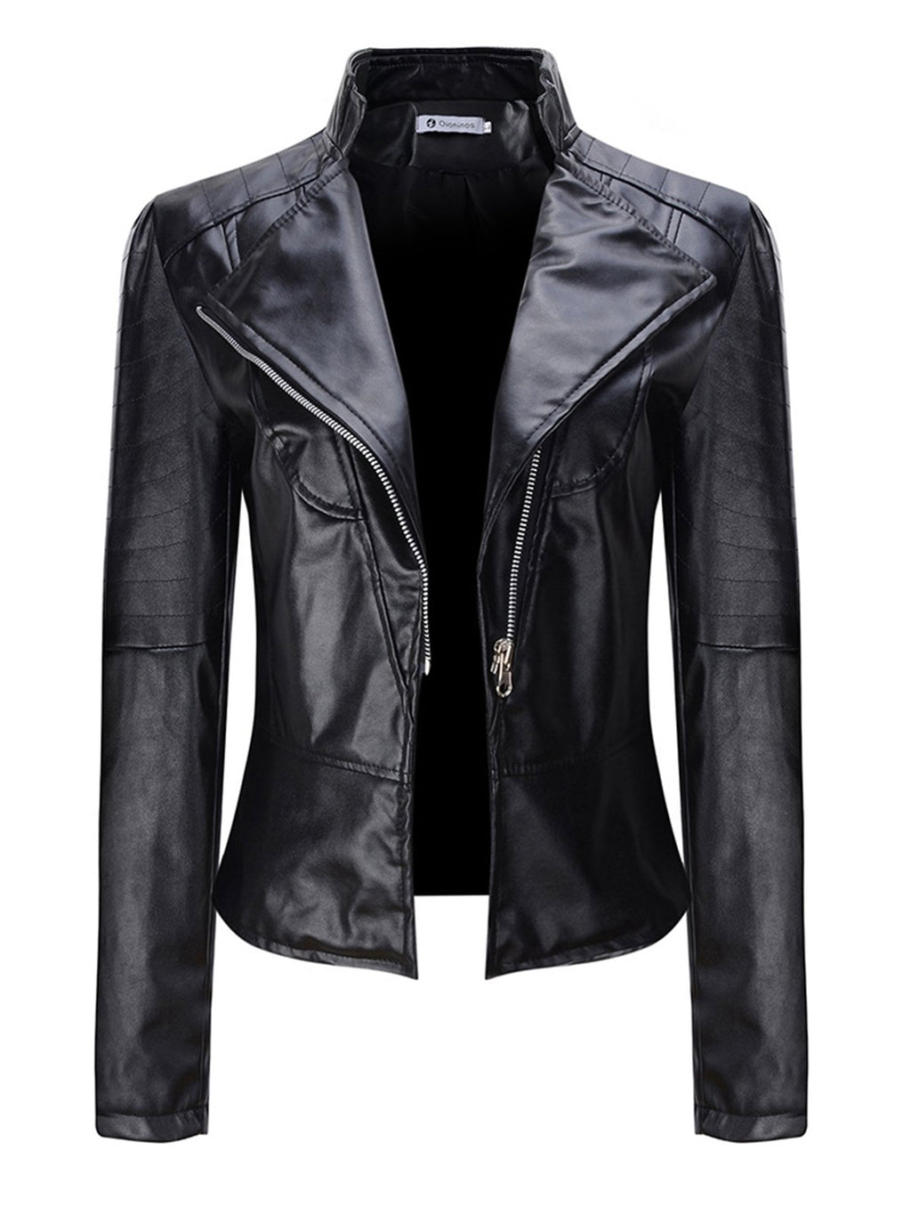 Long Sleeve Faux Leather Plain Outerwear
