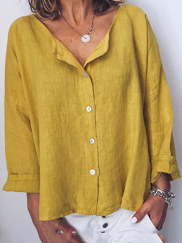 Women Long Sleeve Solid Shirts Plus Size Blouses