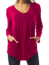 Long Sleeve Buttoned Solid Tops