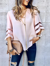 Mesh Inserted Balloon Sleeve V Neck Blouse