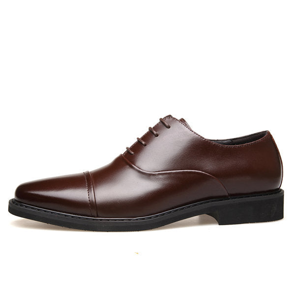 Men's Classic Cap Toe Lace Up Faux Leather Business Formal Shoes
