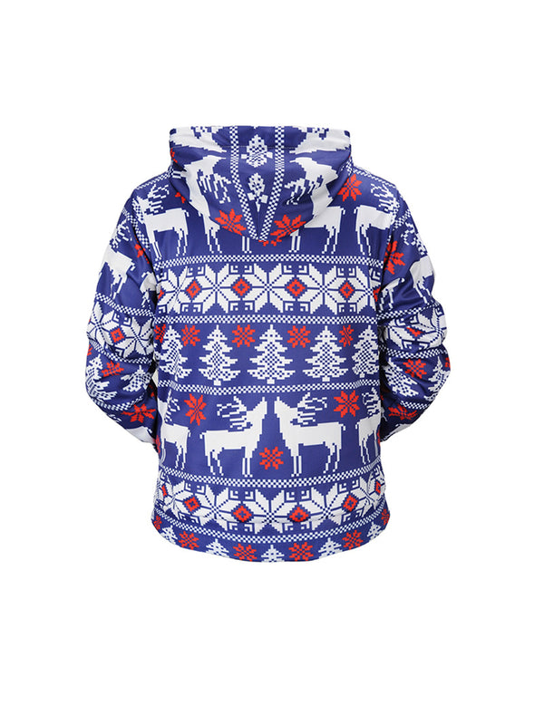 2018 New Long-sleeved  Christmas Tree Reindeer Print Hooded Sweatshirt