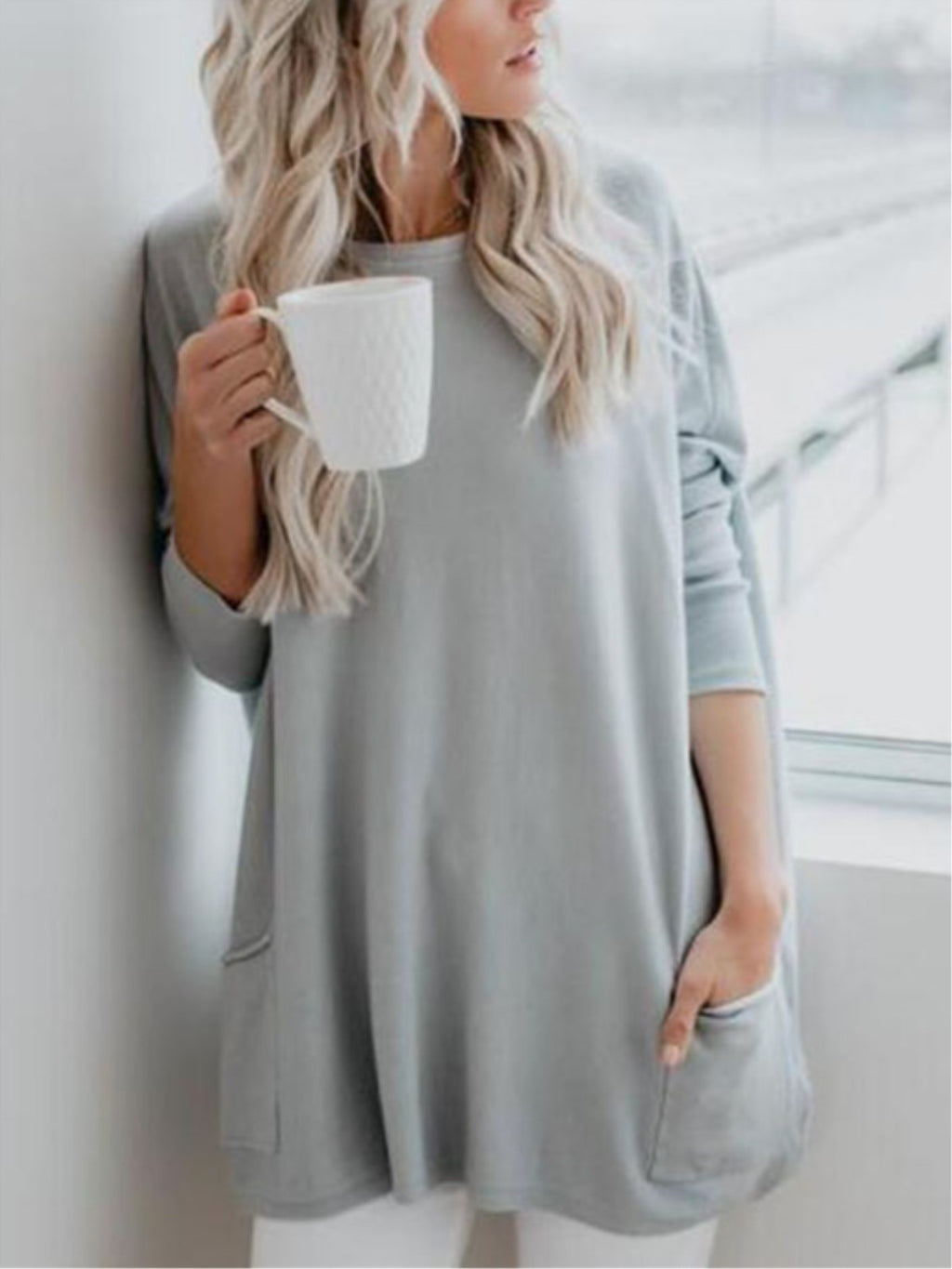 Casual Plain Long Sleeve Crew Neck Sweaterhirt