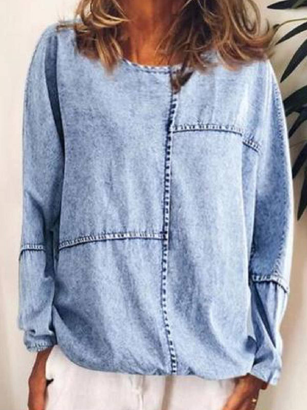 Gray Long Sleeve Round Neck Shirts & Tops
