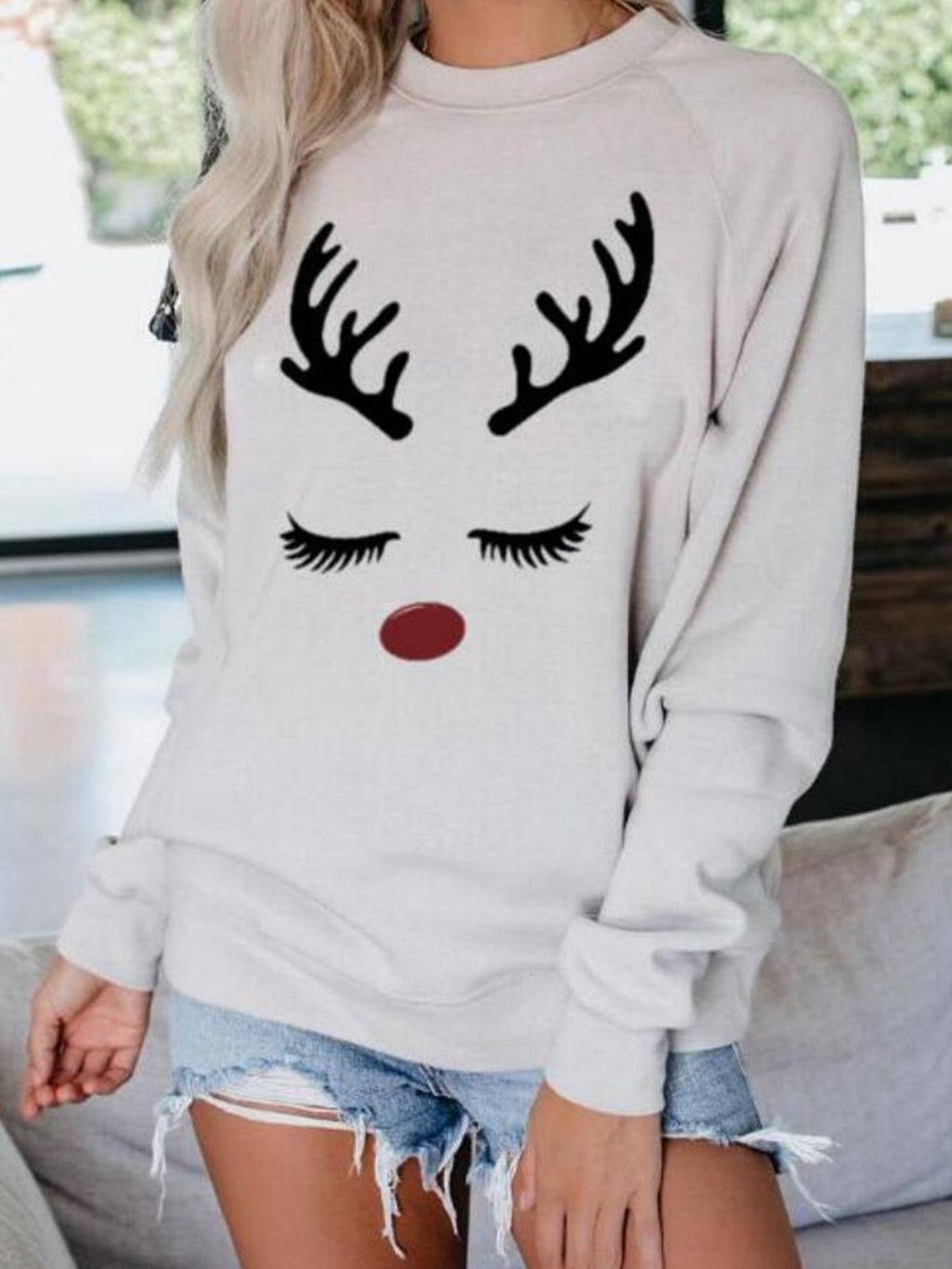 White Abstract Long Sleeve Crew Neck Sweatshirt