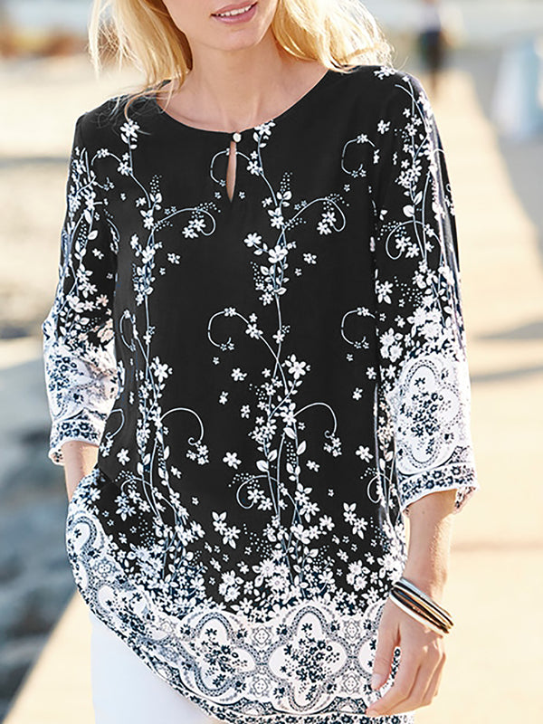 3/4 Sleeve Crew Neck Casual Chiffon Printed Tops