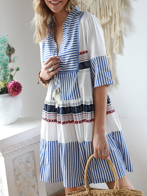 Blue Cotton Boho Paneled Dresses