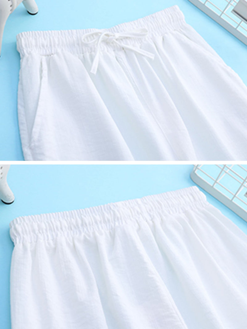Plus Size Women Plain Casual Wide Leg Shorts