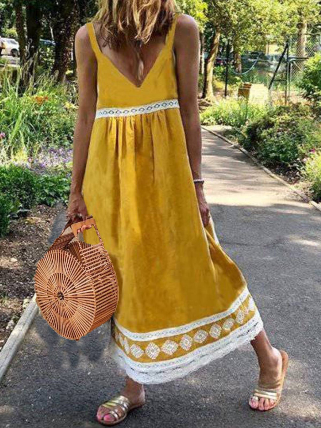 Cotton-Blend Casual Sleeveless Dresses