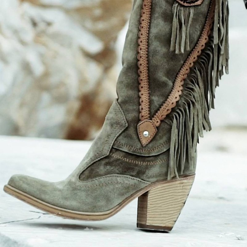 Women Winter  Vintage Tassel Knee-High Boots