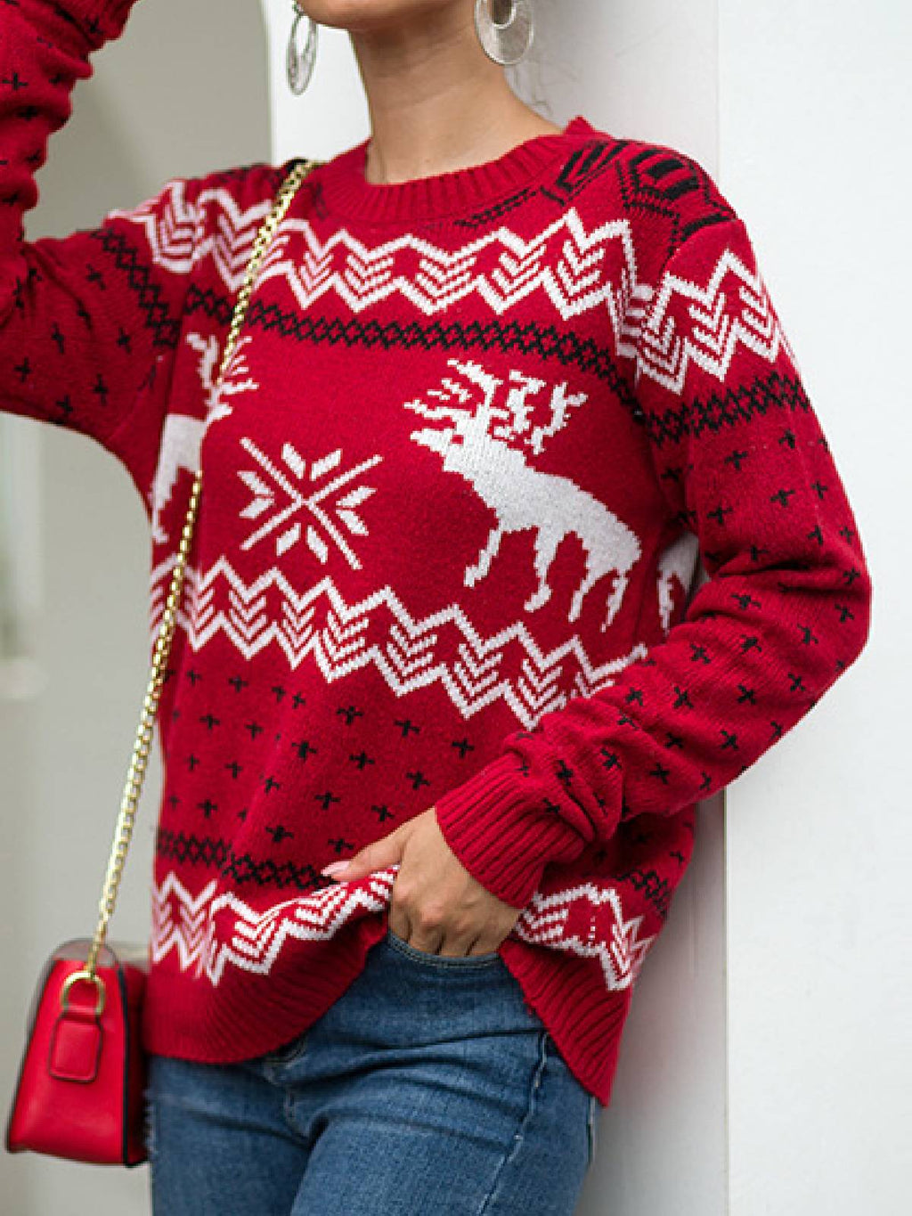 Christmas Snowflake Elk Knitted Long Sleeve Printed Shirts & Tops