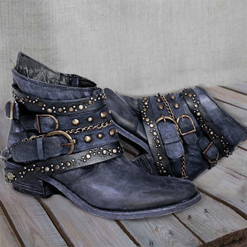 Flat Heel Vintage Casual Ankle Boots