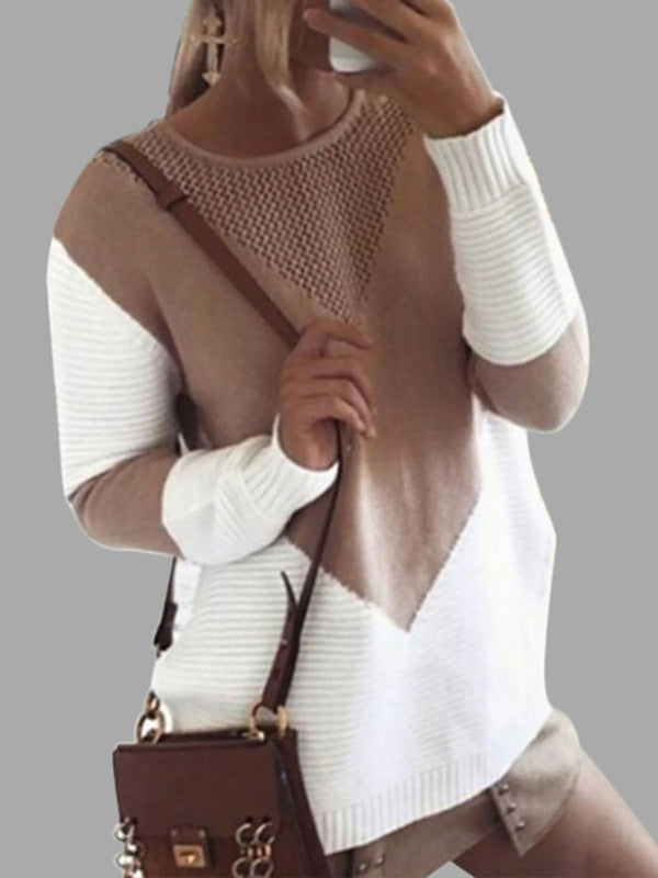 Geometric Color-block Casual Knitted Sweater