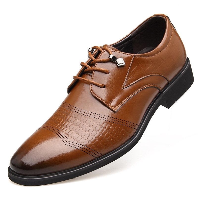 Large Size Men Cap Toe Brogue Lace Up Business Formal Dress Shoes