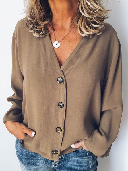 Women Long Sleeve Casual Buttoned Solid Blouses