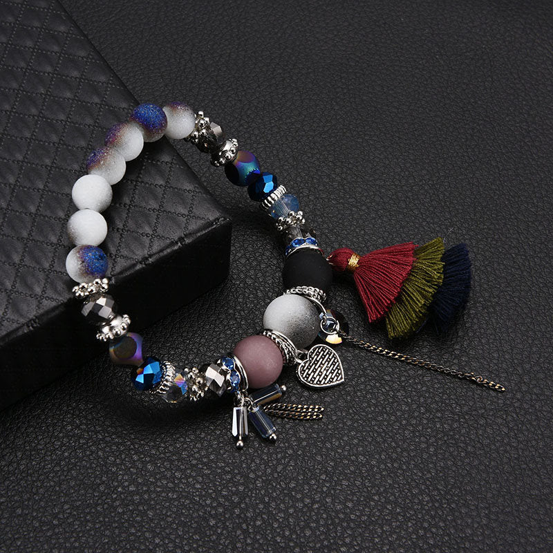 Bohemian Beaded Bracelets Colorful Heart Chain Tessals Charm Bracelets Ethnic Jewelry for Women
